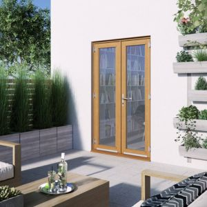 1 Lite Clear Glazed 2 Panel Golden Oak Hardwood External French Door (H)2094mm (W)1194mm Review thumbnail