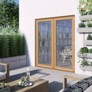 1 Lite Clear Glazed 2 Panel Golden Oak Hardwood External French Door (H)2094mm (W)1794mm Review thumbnail